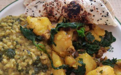 Rezept: Kurkuma Kartoffel Pfandl mit Spinat und Räuchertofu mit Video